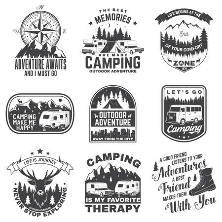 Set of camping badges, patches. Camping quote. Vector. Concept for shirt or logo, print, stamp or tee. Vintage typography design with rv, motor home, camping trailer silhouette.