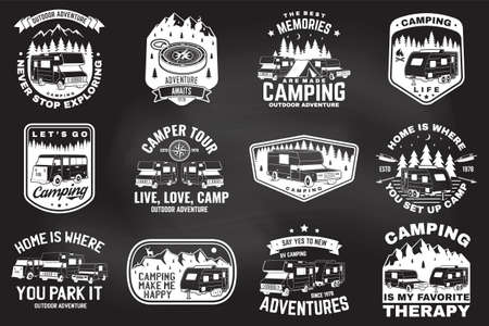 Set of outdoor adventure quotes. Vector. Concept for shirt or print, stamp or tee. Vintage design with mountains, camping trailer, camper van and forest silhouette Vektorgrafik