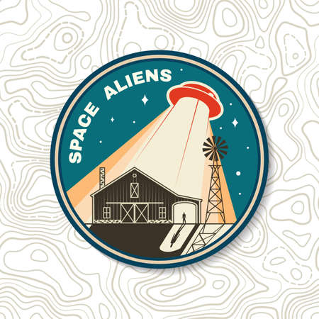 Space Aliens. Humans are not alone. Vector illustration Concept for shirt, print, stamp, overlay or template. Vintage typography design with ufo flying spaceship and farm silhouette.