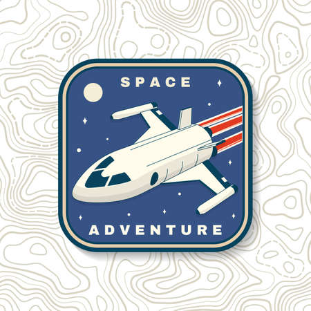 Space adventure badge, patch. Vector. Concept for shirt, print, stamp, overlay or template. Vintage typography design with space rocket and mars silhouette. 向量圖像