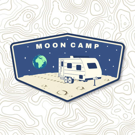 Moon camp  badge, patch. Vector. Concept for shirt, print, stamp, overlay or template. Vintage typography design with camper van on the moon and earth silhouette. 向量圖像