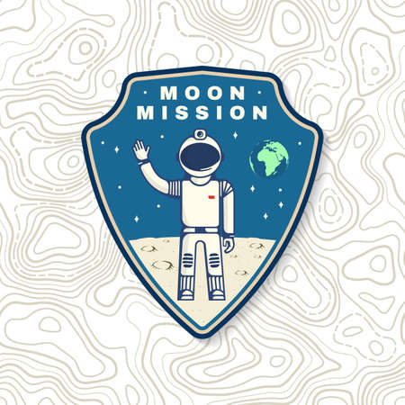 Moon mission , badge, patch. Vector. Concept for shirt, print, stamp, overlay or template. Vintage typography design astronaut on the moon and earth silhouette. 向量圖像