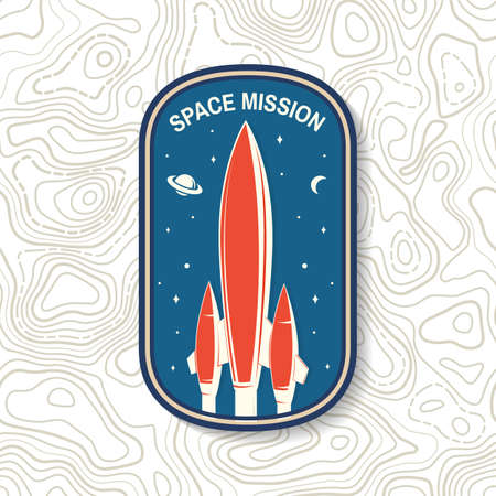 Space mission  badge, patch. Vector. Concept for shirt, print, stamp, overlay or template. Vintage typography design with space rocket and mars silhouette. 向量圖像