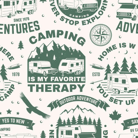 Set of outdoor adventure seamless pattern, background. Vector. Seamless camping pattern with RV Motorhome, camping trailer, compass and off-road car silhouette. Camping texture Vektorgrafik