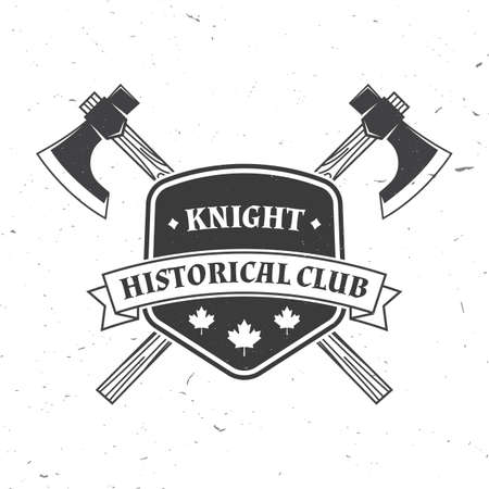 Knight historical club badge design. Vector illustration Concept for shirt, print, stamp, overlay or template. Vintage typography design with battle axe and shield silhouette.