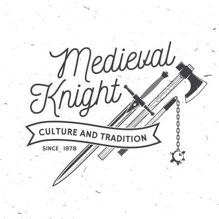 Knight historical club badge design. Vector illustration Concept for shirt, print, stamp, overlay or template. Vintage typography design with battle axe, flail, and sword silhouette.