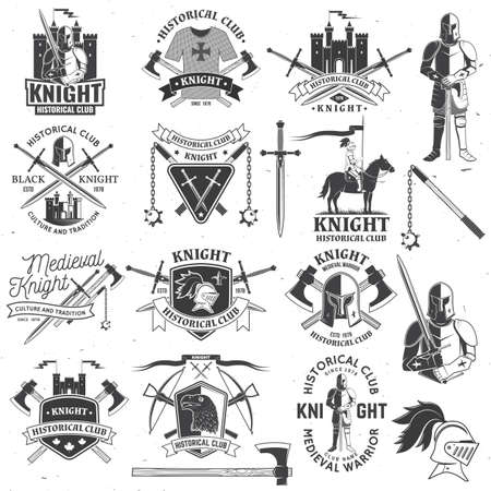 Set of knight historical club badge design Vector Concept for shirt, print, stamp, overlay or template. Vintage typography design with knight, knight on a horse, swords, axe, castle silhouette