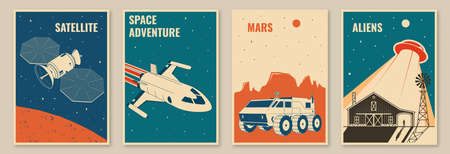 Space mission posters, banners, flyers. Vector illustration Concept for shirt, print, stamp. Vintage typography design with space rocket, mars rover and ufo flying spaceship silhouette. Vektoros illusztráció