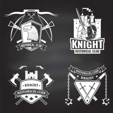 Knight historical club badge design. Vector. Concept for shirt, print, stamp, overlay or template. Vintage typography design with crossbows, eagle, battle axe, flail and shield silhouette