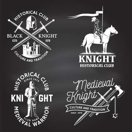 Set of knight historical club badge design Vector Concept for shirt, print, stamp, overlay or template. Vintage typography design with knight, knight on a horse, swords castle silhouette