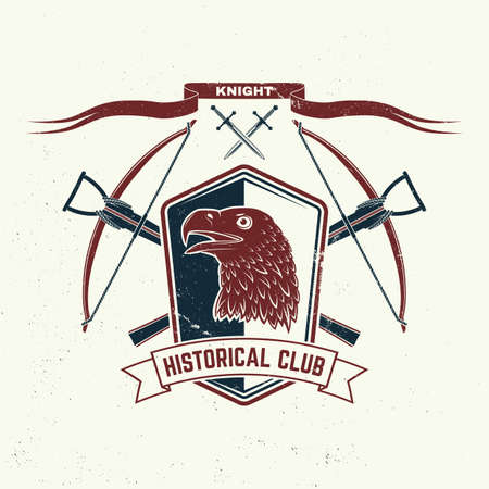 Knight historical club badge design. Vector illustration Concept for shirt, print, stamp, overlay or template. Vintage typography design with crossbows, eagle and shield silhouette.