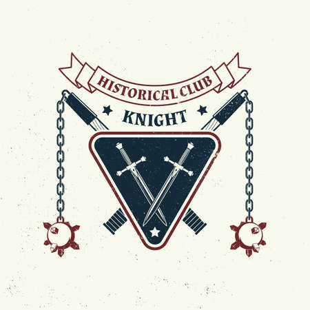 Knight historical club badge design. Vector illustration Concept for shirt, print, stamp, overlay or template. Vintage typography design with flail and shield silhouette.