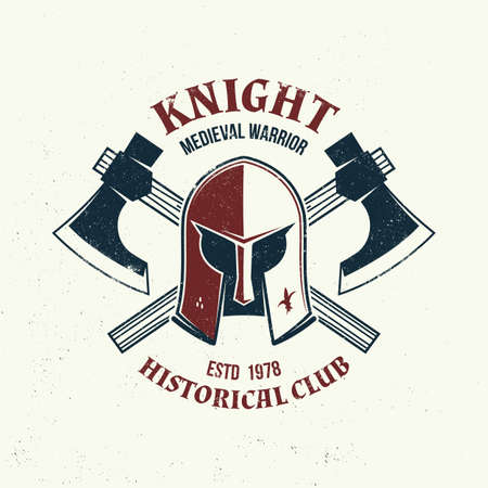 Knight historical club badge design. Vector illustration Concept for shirt, print, stamp, overlay or template. Vintage typography design with battle axe and knight helmet silhouette. Vettoriali