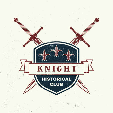 Knight historical club badge design. Vector illustration Concept for shirt, print, stamp, overlay or template. Vintage typography design with swords and shield silhouette. Vettoriali