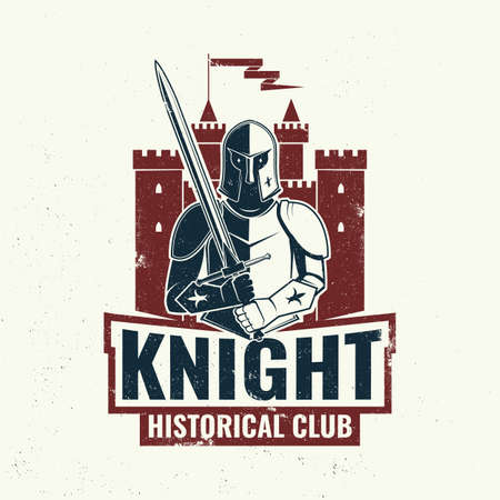 Knight historical club badge design. Vector illustration Concept for shirt, print, stamp, overlay or template. Vintage typography design with knight with sword and castle silhouette. Vettoriali