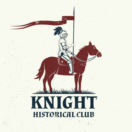 Knight historical club badge design. Vector illustration Concept for shirt, print, stamp, overlay or template. Vintage typography design with knight on a horse silhouette. 矢量图像