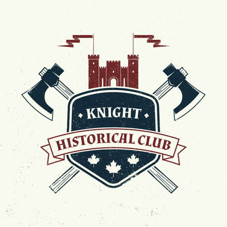 Knight historical club badge design. Vector illustration Concept for shirt, print, stamp, overlay or template. Vintage typography design with battle axe and shield silhouette. Vettoriali