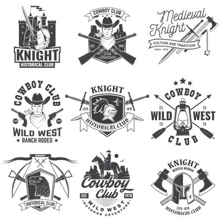 Set of knight historical and cowboy club design Vector Concept for shirt, print, stamp, overlay or template. Vintage typography design with knight, knight on a horse, swords, axe, castle silhouette