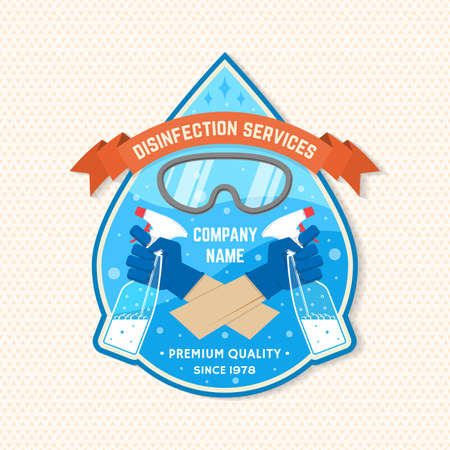 Disinfection and cleaning services patch,  emblem. Vector For professional disinfection and cleaning company. Vintage design with mask and hands in gloves holds bottles of antiseptic spray Ilustracja