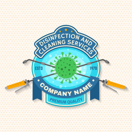 Disinfection and cleaning services patch,   emblem. Vector. For professional disinfection and cleaning company. Ilustracja