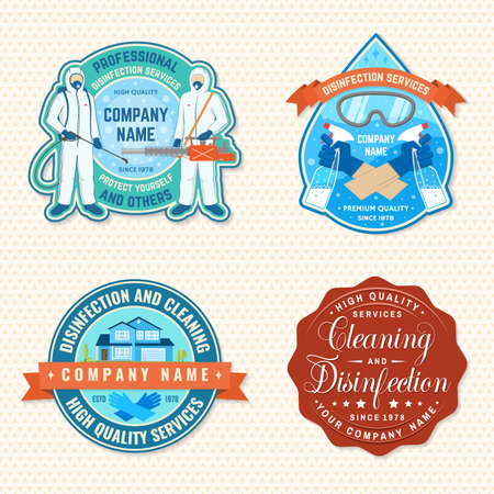 Set of disinfection and cleaning services patch, emblem. Vector For professional disinfection and cleaning company. Vintage typography design with disinfectant worker , respirator and sprayer Zdjęcie Seryjne - 162636274