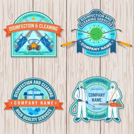 Set of disinfection and cleaning services patch,  emblem. Vector For professional disinfection and cleaning company. Vintage typography design with disinfectant worker , respirator and sprayer Ilustracja