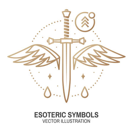 Esoteric symbols. Vector. Thin line geometric badge. Outline icon for alchemy or sacred geometry. Mystic and magic design with dagger and wings Ilustracja