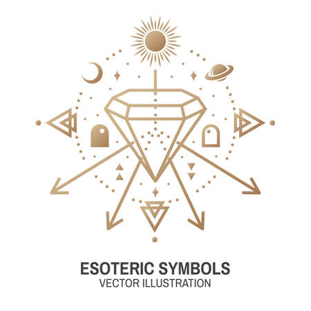 Esoteric symbols. Vector. Thin line geometric badge. Outline icon for alchemy or sacred geometry. Mystic and magic design with alchemy symbols and crystals. Ilustracja