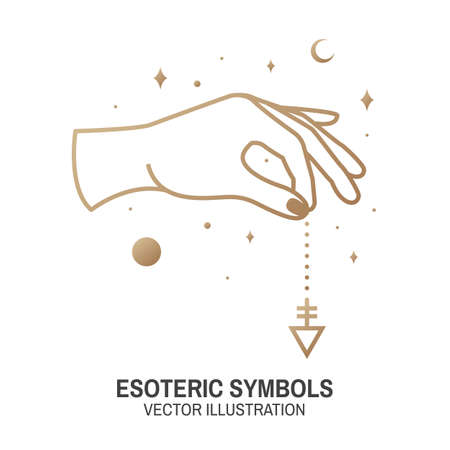 Esoteric symbols. Vector. Thin line geometric badge. Outline icon for alchemy or sacred geometry. Mystic and magic design with hand, stars, planets and moon.