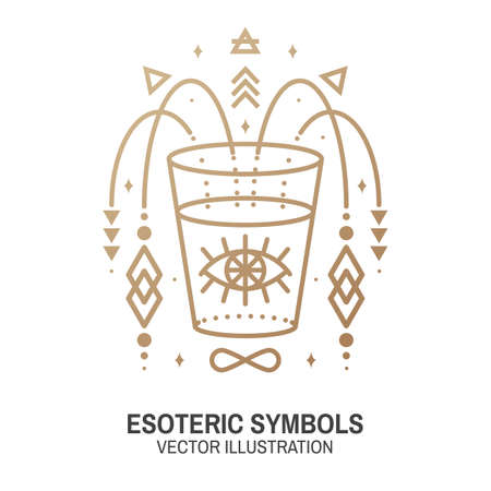 Esoteric symbols. Vector. Thin line geometric badge. Outline icon for alchemy or sacred geometry. Mystic and magic design with all-seeing eye and glass.