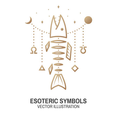 Esoteric symbols. Vector. Thin line geometric badge. Outline icon for alchemy or sacred geometry. Mystic and magic design with Fish bone