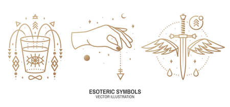 Esoteric symbols. Vector Thin line geometric badge. Outline icon for alchemy or sacred geometry. Mystic and magic design with dagger, wings,all-seeing eye, glass, hand, stars, planets and moon