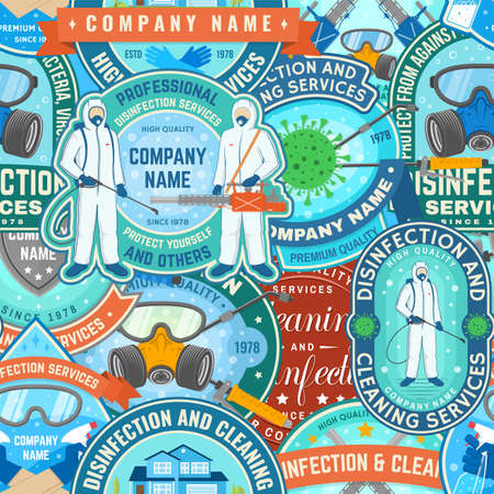 Set of disinfection and cleaning services seamless pattern. Vector For professional disinfection and cleaning company. Vintage typography design with disinfectant worker , respirator and sprayer