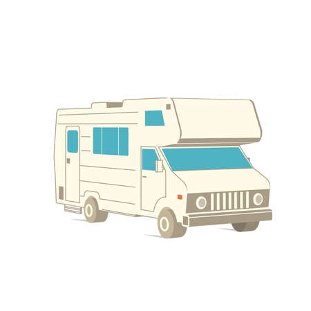 Retro recreation vehicle camper, camping RV, trailer or family caravan. 3d isometric cartoon icon isolated on white. For summer camper family travel concept. Vector. Zdjęcie Seryjne - 162976030