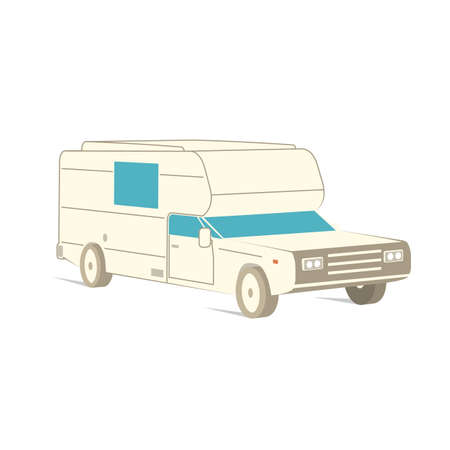 Retro recreation vehicle camper, camping RV, trailer or family caravan. 3d isometric cartoon icon isolated on white. For summer camper family travel concept. Vector. Zdjęcie Seryjne - 162976033