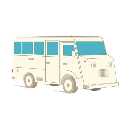 Retro recreation vehicle camper, camping RV, trailer or family caravan. 3d isometric cartoon icon isolated on white. For summer camper family travel concept. Vector.