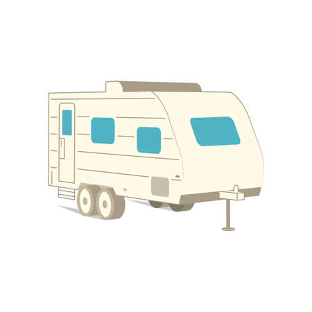 Retro recreation vehicle camper, camping RV, trailer or family caravan. 3d isometric cartoon icon isolated on white. For summer camper family travel concept. Vector. Zdjęcie Seryjne - 162976034