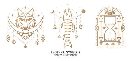 Esoteric symbols. Vector Thin line geometric badge. Outline icon for alchemy or sacred geometry. Mystic and magic design with moon in the mouth of a wolf, Fish bone, all-seeing eye and hourglass