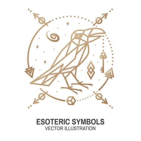 Esoteric symbols. Vector. Thin line geometric badge. Outline icon for alchemy or sacred geometry. Mystic and magic design with crow and galaxy Ilustracja