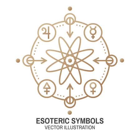 Esoteric symbols. Vector. Thin line geometric badge. Outline icon for alchemy or sacred geometry. Mystic and magic design with atom