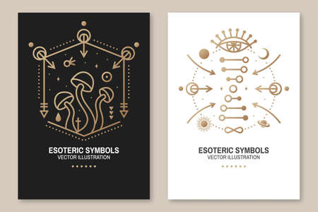 Esoteric symbols poster, flyer. Vector Thin line geometric badge. Outline icon for alchemy or sacred geometry. Mystic and magic design with alchemy symbols, mushrooms, all-seeing eye and dna. Zdjęcie Seryjne - 162976042