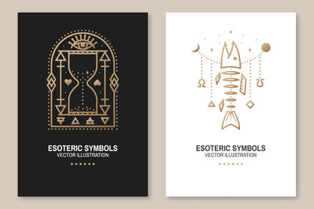 Esoteric symbols, poster, flyer. Vector. Thin line geometric badge. Outline icon for alchemy or sacred geometry. Mystic and magic design with fish bone, all-seeing eye and hourglass Ilustracja