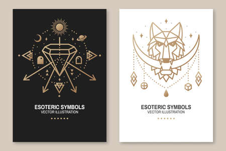 Esoteric symbols, poster, flyer. Vector. Thin line geometric badge. Outline icon for alchemy or sacred geometry. Mystic and magic design with wolf, stars, planets, crystal and moon.