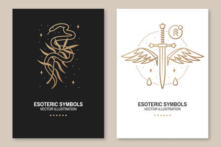 Esoteric symbols, poster, flyer. Vector. Thin line geometric badge. Outline icon for alchemy or sacred geometry. Mystic and magic design with snake, wildflower, dagger and wings Zdjęcie Seryjne - 163227037