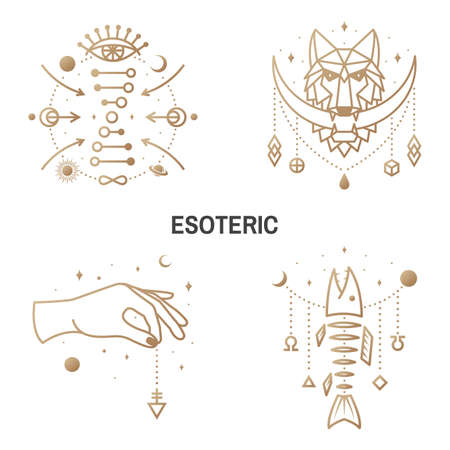 Esoteric symbols. Vector Thin line geometric badge. Outline icon for alchemy or sacred geometry. Mystic and magic design with moon in the mouth of a wolf, fish bone, all-seeing eye, dna, hand