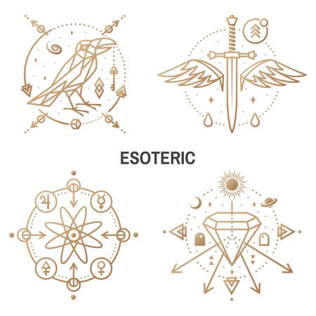 Esoteric symbols. Vector Thin line geometric badge. Outline icon for alchemy or sacred geometry. Mystic and magic design with crow and galaxy, dagger and wings, crystals, atom Zdjęcie Seryjne - 163227042
