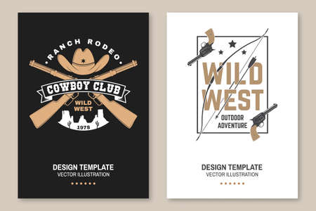 Cowboy club poster, flyer. Ranch rodeo. Concept for shirt,   print, stamp, tee with cowboy and shotgun. Vintage typography design with wild west and western rifle silhouette.