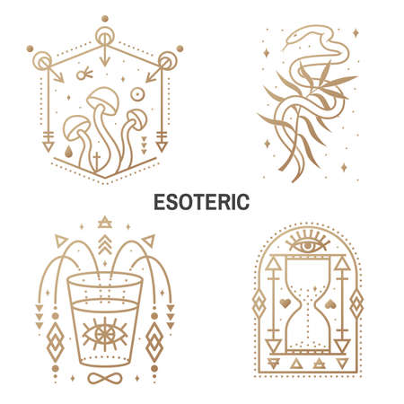 Esoteric symbols. Vector Thin line geometric badge. Outline icon for alchemy or sacred geometry. Mystic and magic design with alchemy symbols, mushrooms, snake, wildflower, hourglass, glass Ilustracja