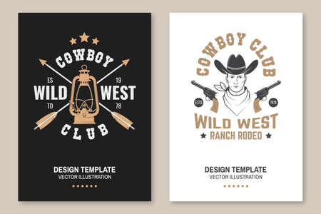 Cowboy club poster, flyer. Ranch rodeo.  Concept for shirt,  print, stamp, tee with cowboy and gun. Vintage typography design with lantern lamp