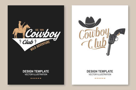 Cowboy club poster, flyer. Ranch rodeo. Concept for shirt,  print, stamp, tee with cowboy and shotgun. Vintage typography design with american canyon silhouette Zdjęcie Seryjne - 163227053